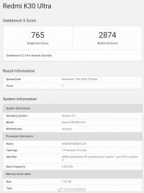 GeekBench 5: Xiaomi Redmi K30 Ultra (Dimensity 1000+)
