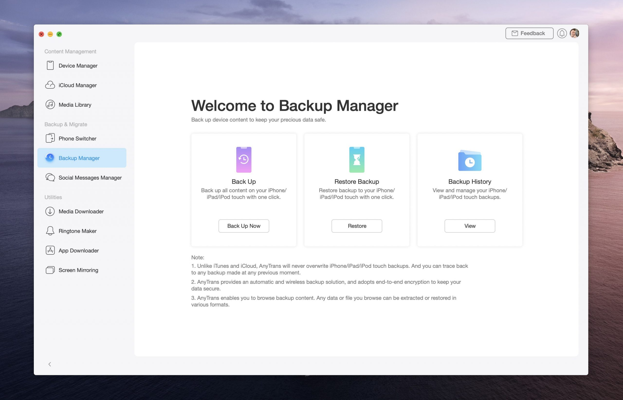 iPhone 12 switch - AnyTrans backup restore backup manager