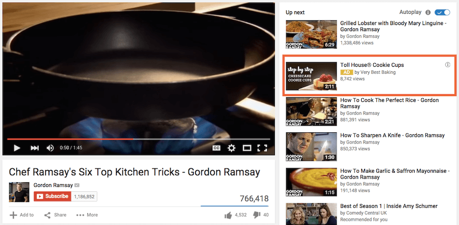 YouTube display ad -- or Video Discovery Ad -- on righthand video sidebar