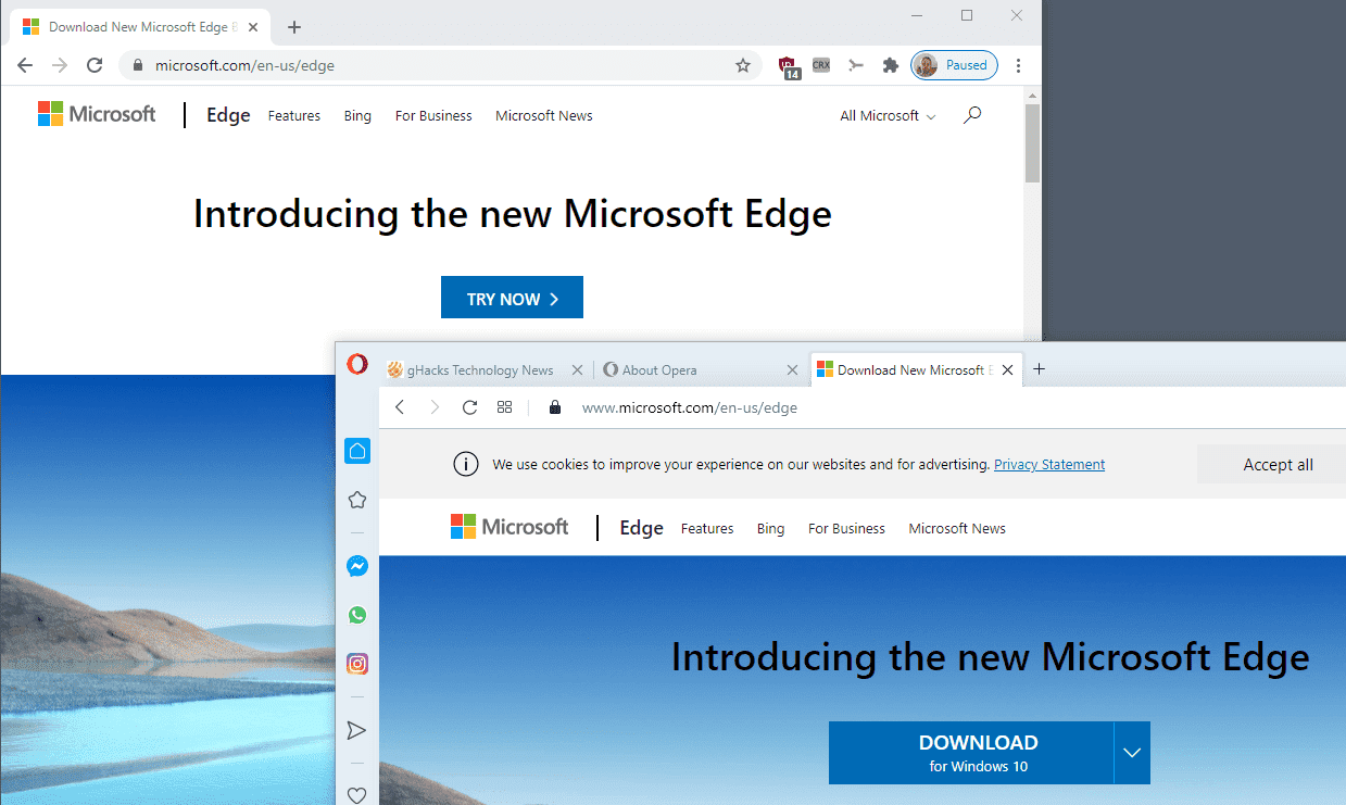 microsoft edge download differences