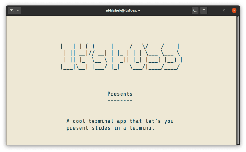 Presentation In Linux Terminal