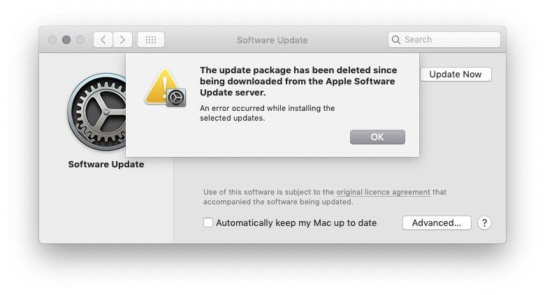 updates package has been deleted since being downloaded from the apple software update server