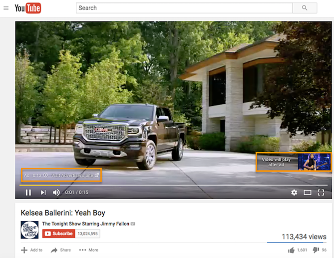 Preroll ad on YouTube with