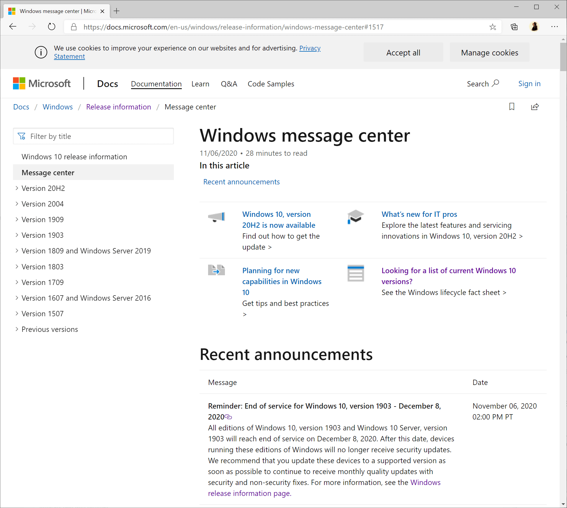 windows 10 version 1903 end of support