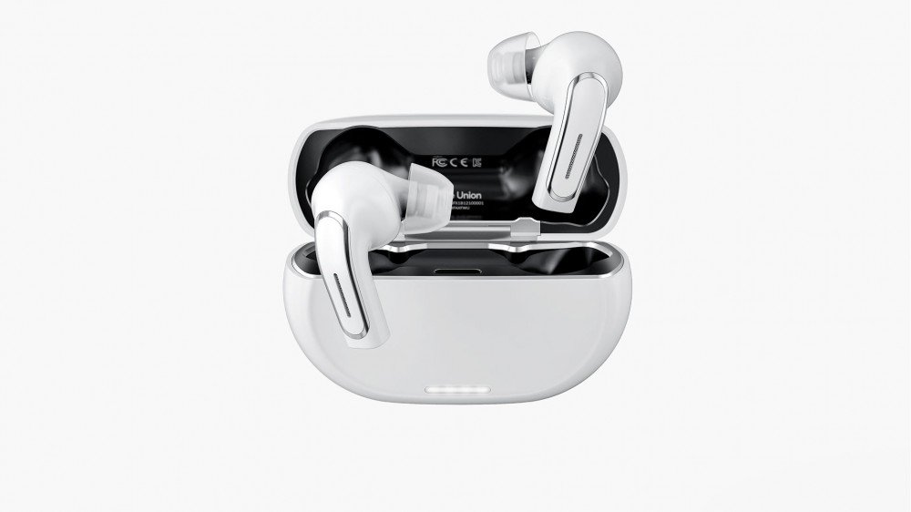 A set of hearing aids that look like True Wireless earbuds.
