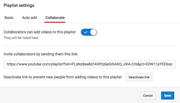 Paramètre de playlist de collaboration YouTube.
