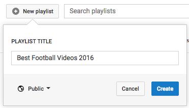 YouTube crée une nouvelle page de playlist.