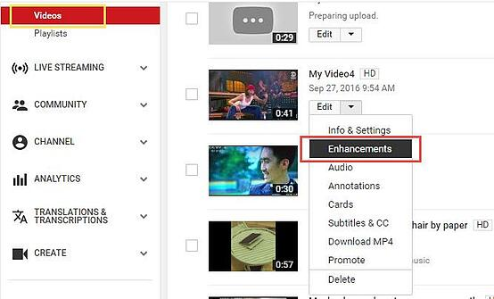Fonctionnalité d'améliorations et d'effets YouTube.