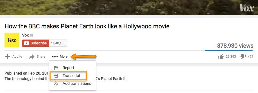 YouTube's more tag pour trouver la transcription de la vidéo.