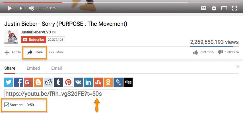 Lien horaire YouTube d'une vidéo de Justin Bieber.