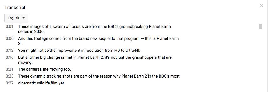 Exemple de transcription YouTube.