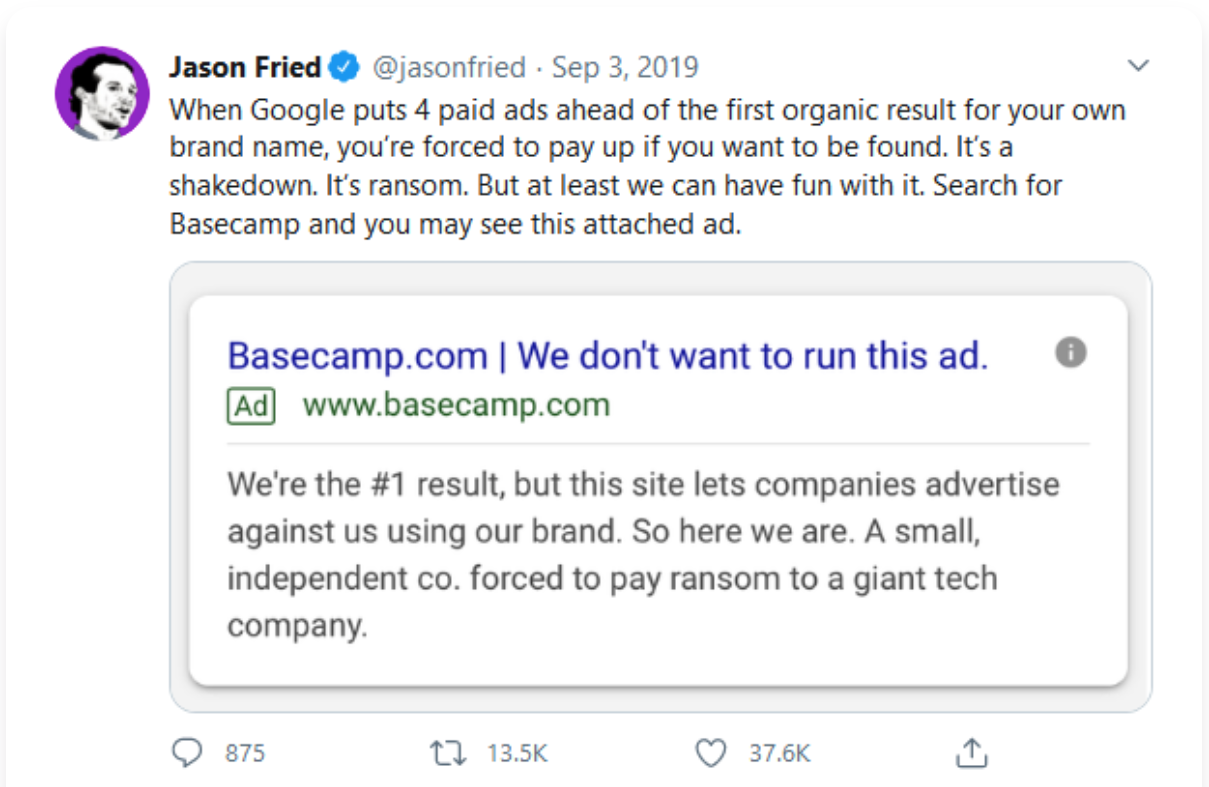 jason fried tweet about google paid ads