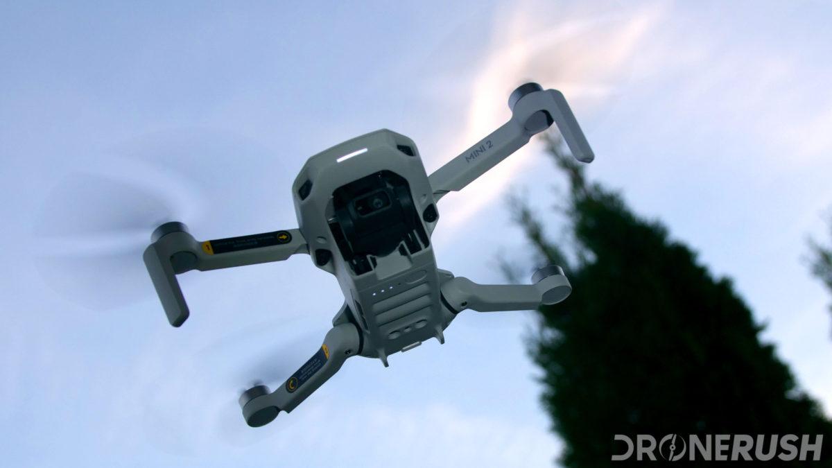 DJI Mini 2 flying bottom sky