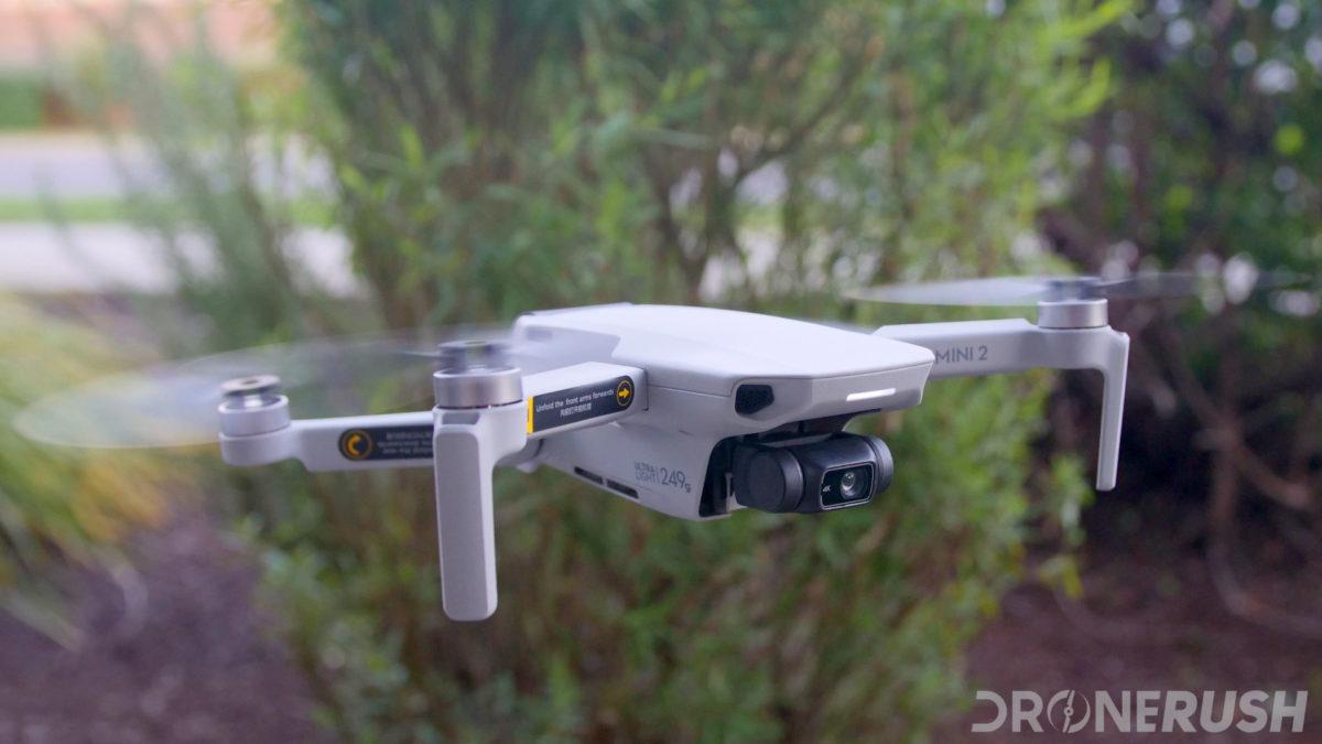 DJI Mini 2 flying front bushes