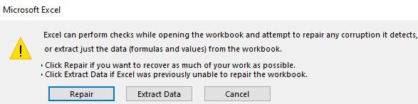 Repair Excel Options