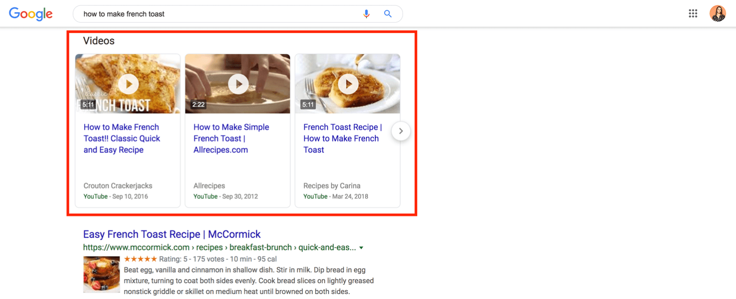 search results video section for how to make french toast