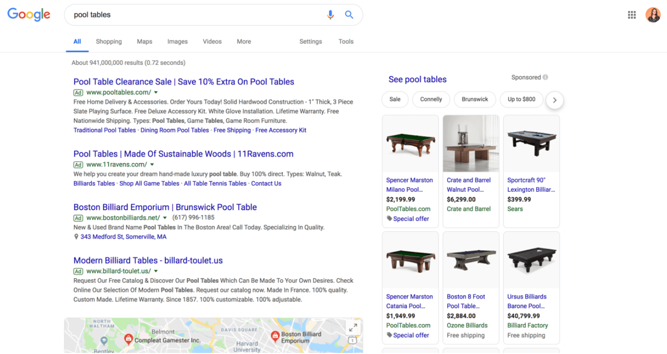 structured data new google pool tables