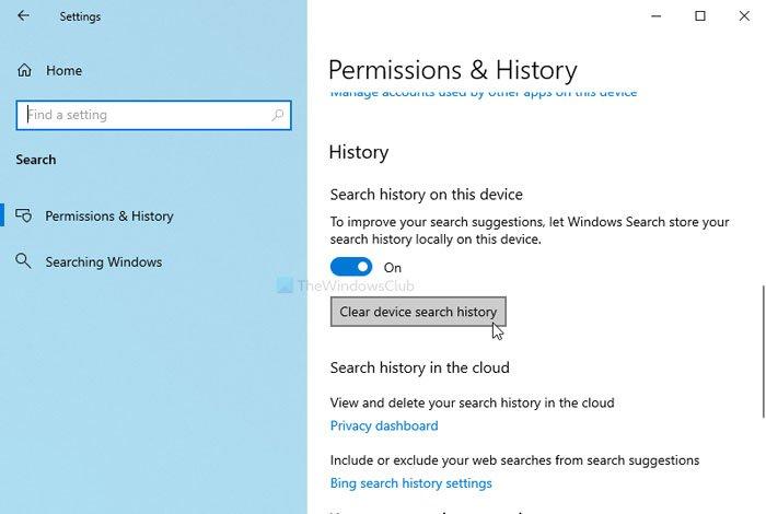 Comment effacer l'historique de recherche d'appareils dans Windows 10