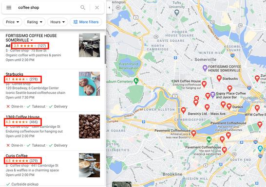 Google வரைபட தேடல் முடிவுகள் வணிக மதிப்பீடுகள் எடுத்துக்காட்டு
