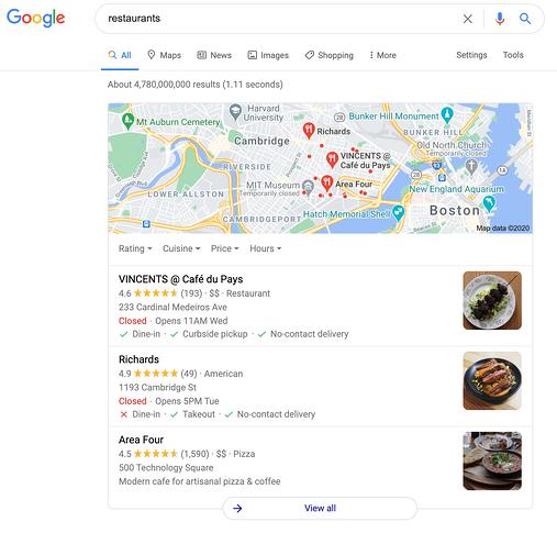 உணவக வினவலுக்கான Google வரைபடங்களின் உள்ளூர் 3-பேக்கின் எடுத்துக்காட்டு