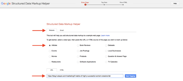 structured data google markup tool select data type