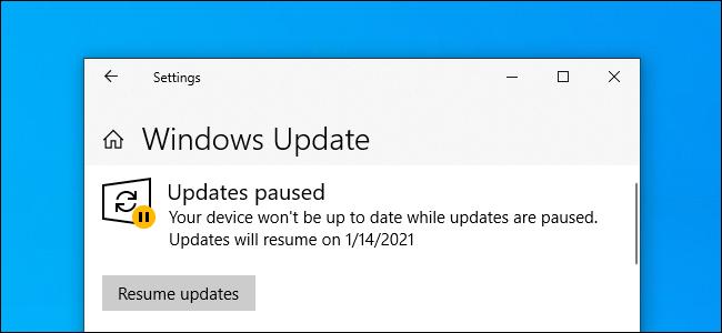 Windows Update showing
