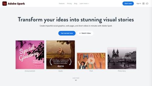 Adobe Spark home page