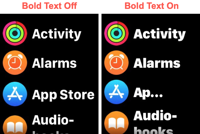 Bold Text Off and On Apple Watch