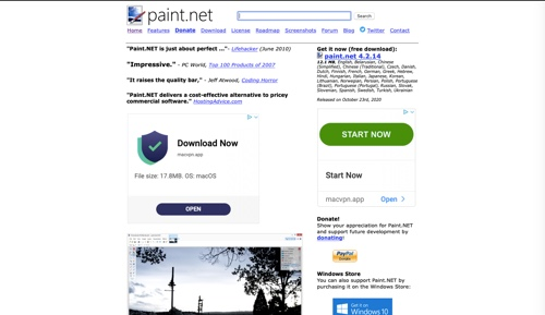 Paint.net home page