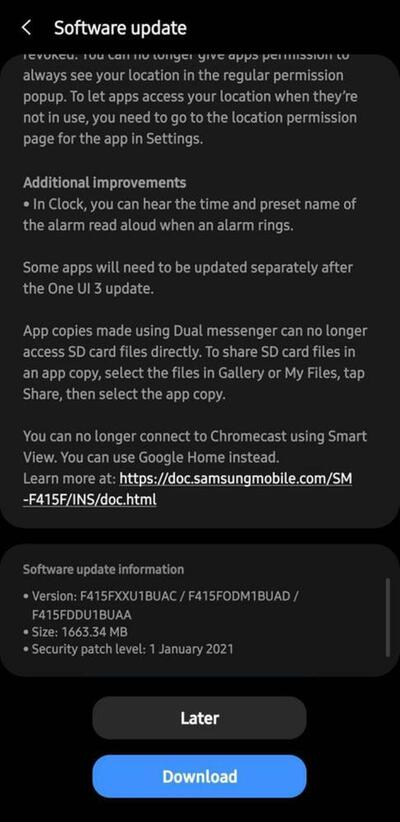 Samsung Galaxy F41 Android 11 One UI 3.0