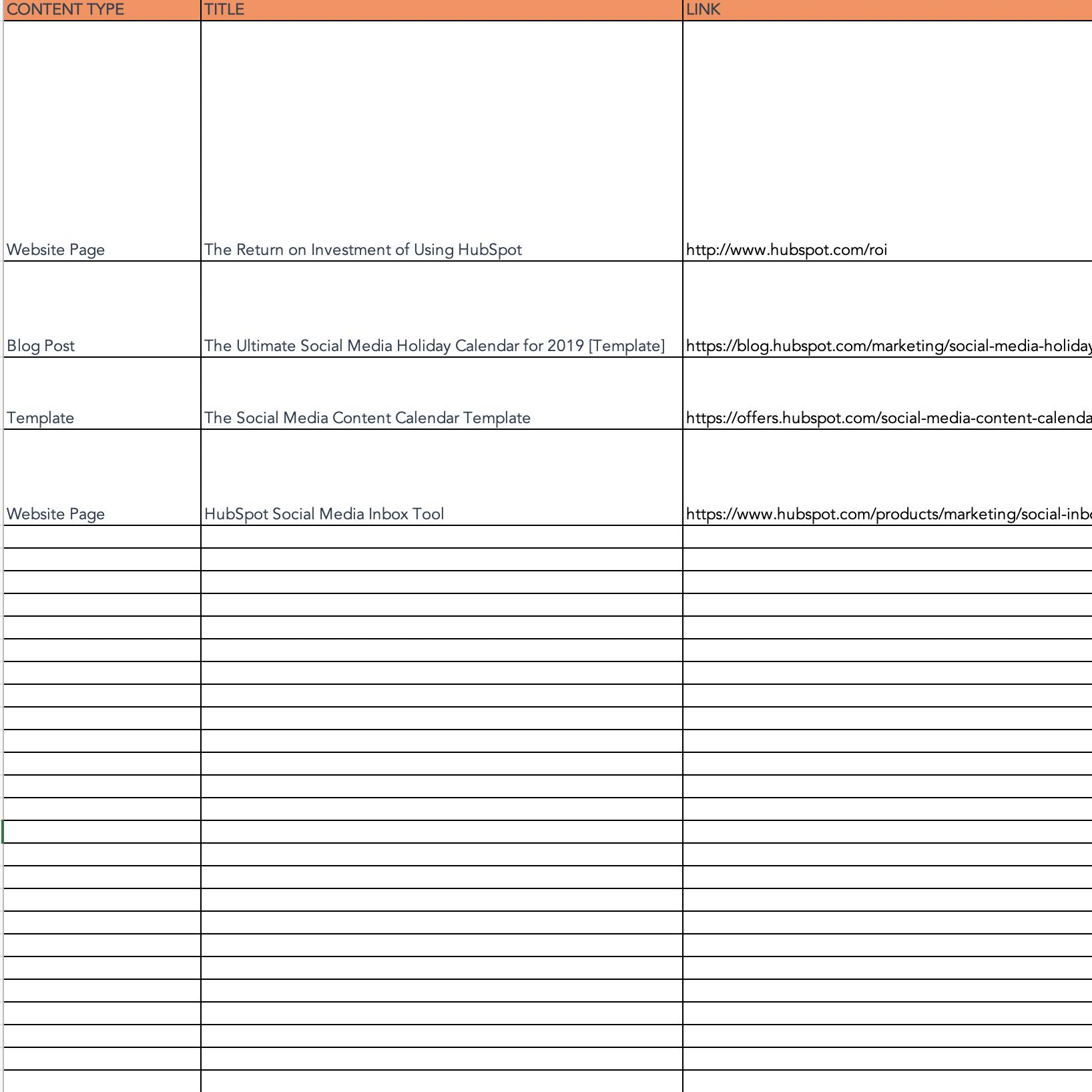Social media idea repository tab on Social Media Calendar template from HubSpot