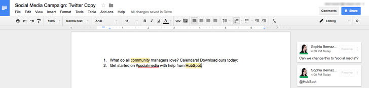 Google Docs document with projects listed and comments on those projects