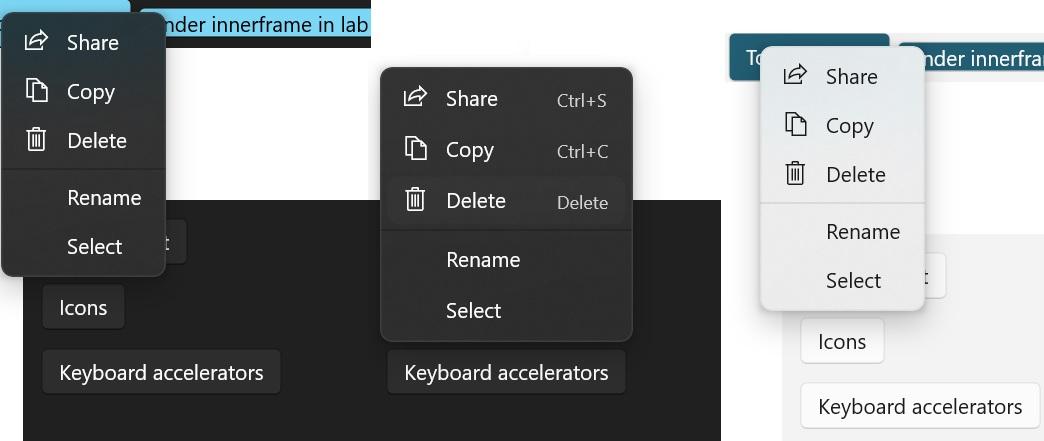 Windows context menu