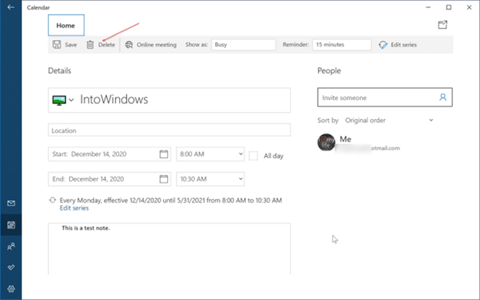 add or delete reminders in Windows 10 Calendar pic10