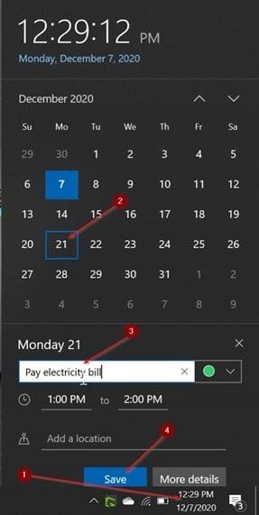 add or delete reminders in Windows 10 Calendar pic12