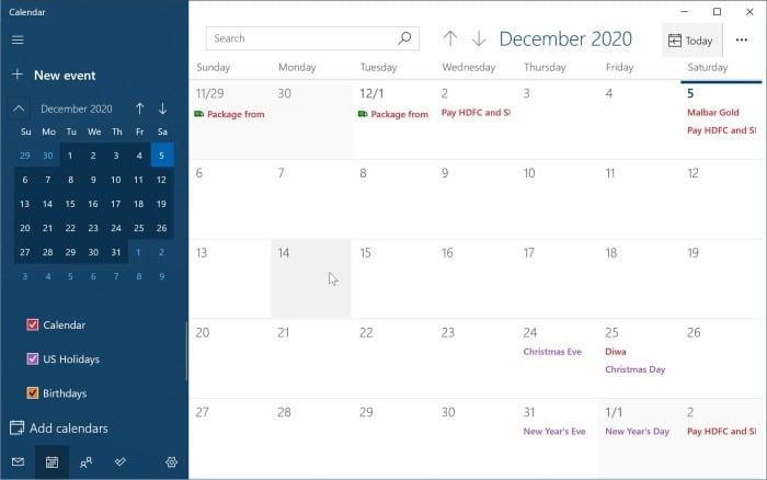 add or delete reminders in Windows 10 Calendar pic2