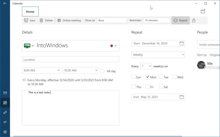 add or delete reminders in Windows 10 Calendar pic7