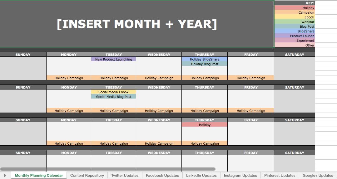 Social media calendar ideas organized on an Excel spreadsheet
