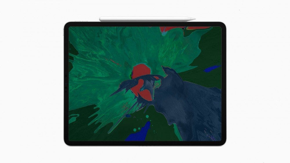 An iPad with sickly greens on the screen.