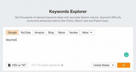 Screenshot of Ahrefs Keywords Explorer.