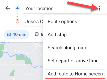 add route to home screen