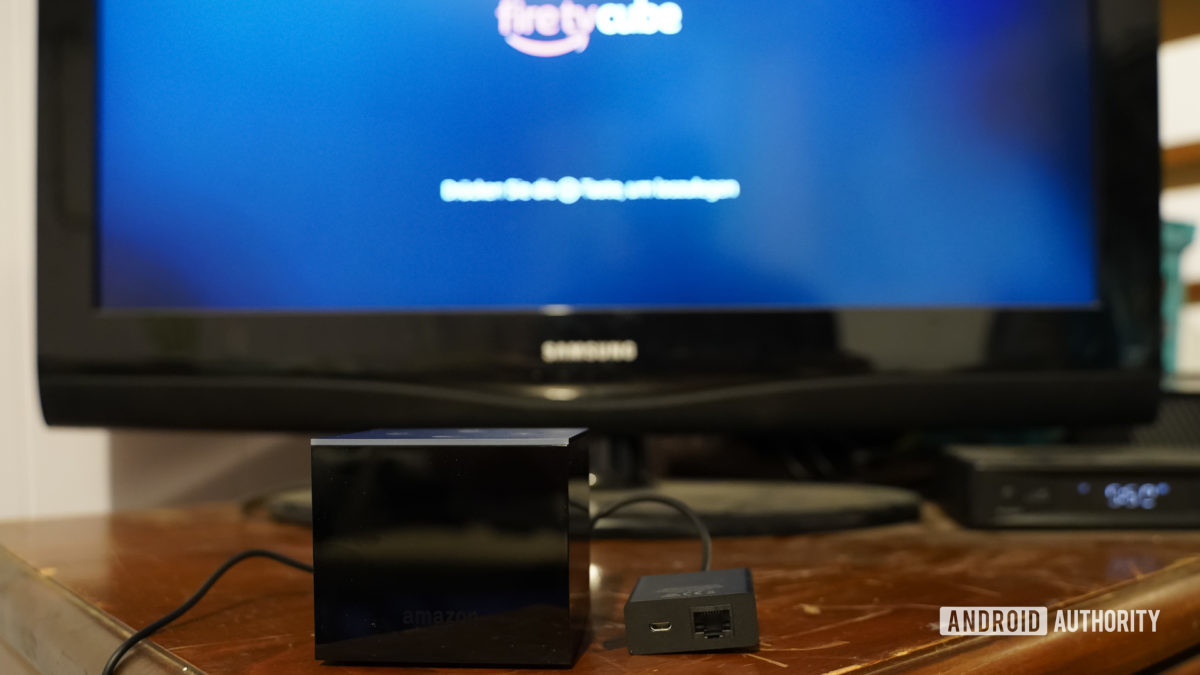 Amazon Fire TV Cube booting up