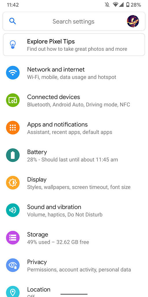 Android 11 settings page