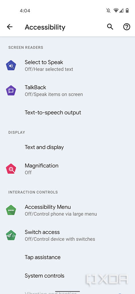Android 12 accessibility settings