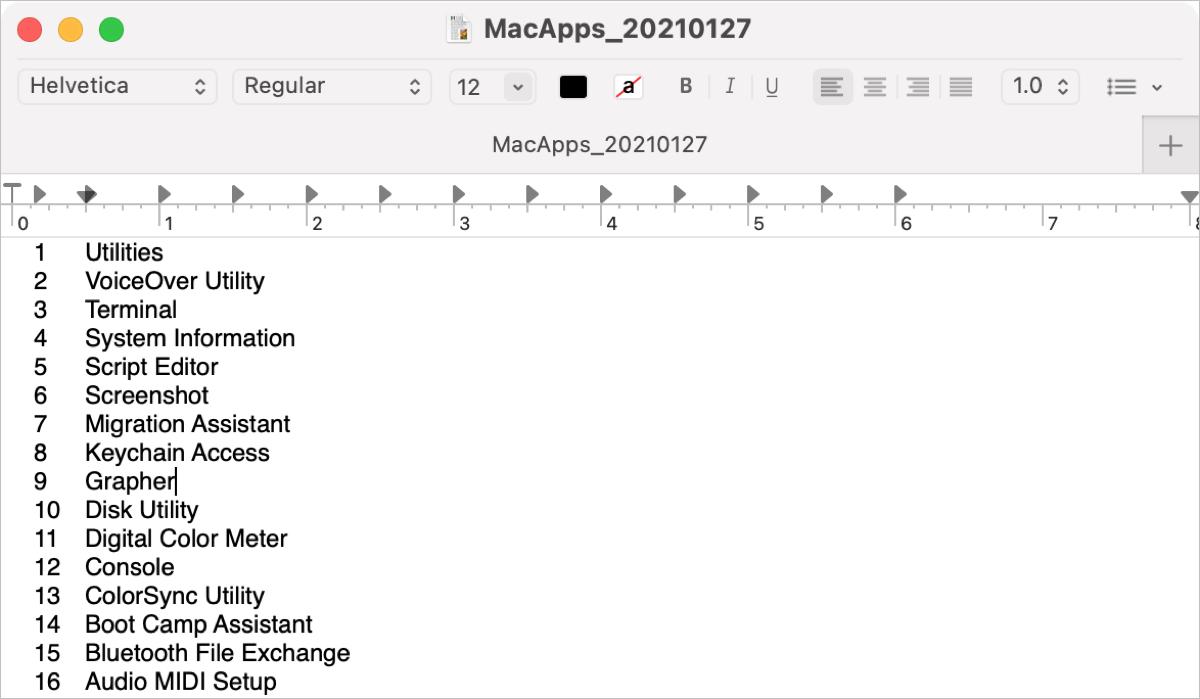 Applications Folder List in TextEdit
