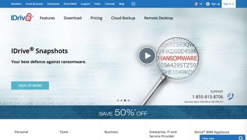 Home page of IDrive