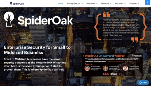 Home page of SpiderOak