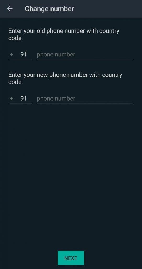 WhatsApp Change Number