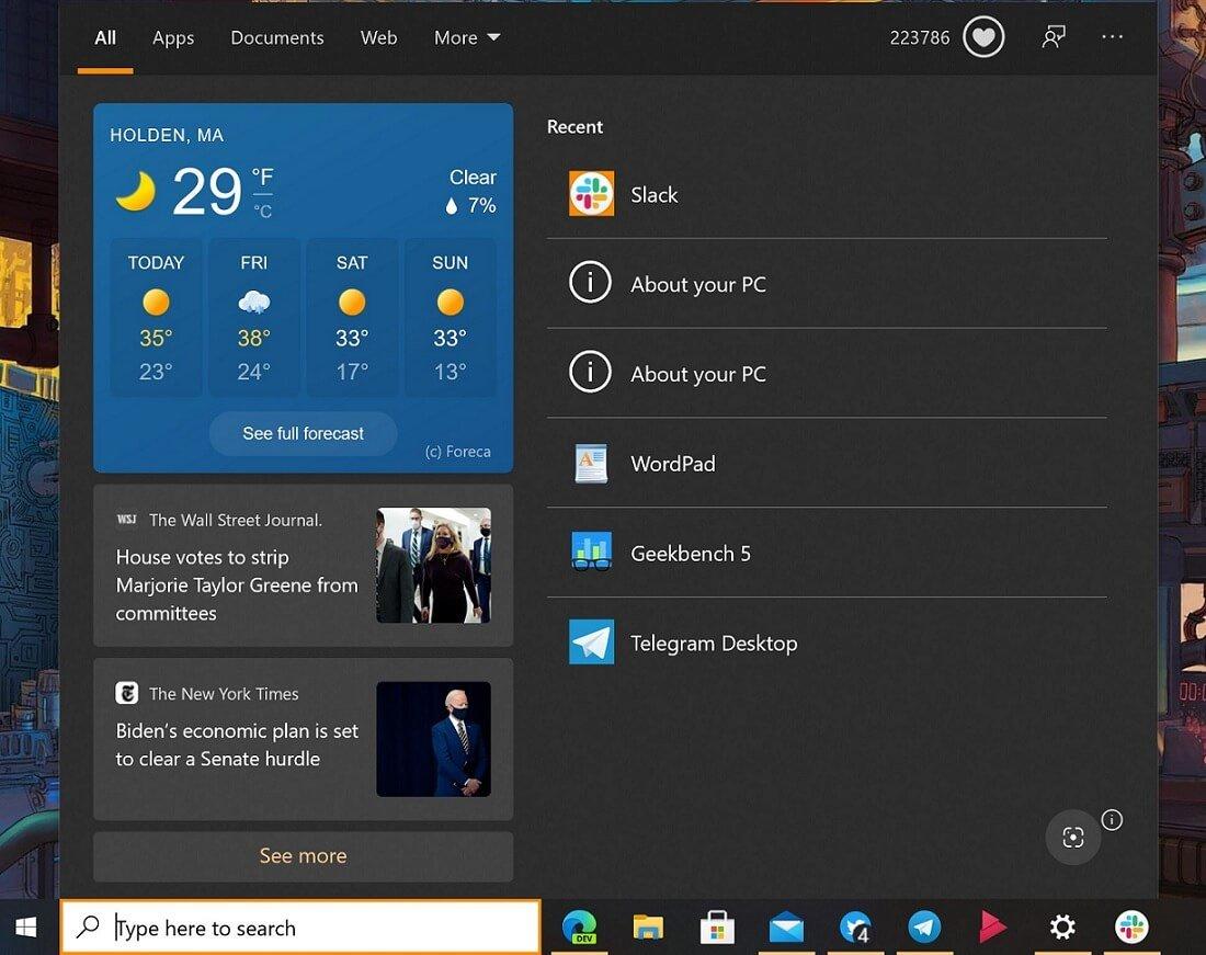 Windows-Search-weather-UI
