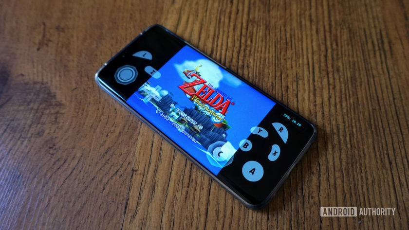 The Legend of Zelda Wind Waker running on Dolphin emulator on an Android smartphone